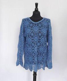 Vintage 90s does 70s Boho Blue Ramie Crochet Knit Sweater Long Sleeve Shirt Grunge Hippie Oversize Beach Cover Up SoCal Blouse Size Medium