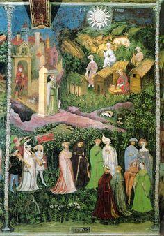 """""""Giugno"""", Ciclo dei Mesi, fresco of the Torre Aquila, Castello del Buonconsiglio, Trento, Italy, (ca. 1390-1400), by Maestro Venceslao. 46°04′00″N 11°07′00″E"""