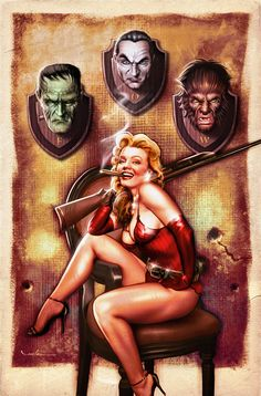 Carlos Valenzuela is a highly talented illustrator, pin-up and comic book artist who continues to impress collectors of many genres:Title: The Huntress.Model: Marilyn Monroe, Dracula, Frankenstein and Wolfman. Pinup Art, Star Anime, Classic Monsters, Cultura Pop, Horror Art, Horror Film, Marilyn Monroe, Retro, Pin Up Girls