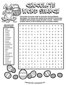 chocolate word search free printable learning activities for kids printable colouring sheets