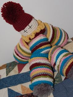 crocheted circles clown pompoms for hands and feet