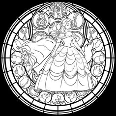 Belle Stained Glass: Vector -coloring page- by Akili-Amethyst on deviantART