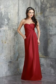 Muted radiance shoots off the A-line silhouette of Bari Jay 548 Bridesmaid Dress, courtesy of the stretch of Vienna Satin running its entirety.