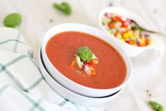 The Best Gazpacho - Intentionally Eat Tomato Basil Soup, Tomato Soup Recipes, Vegetable Soup Recipes, Vegan Soup, Vegan Vegetarian, Vegetarian Recipes, Vegan Recipes Easy, Diet Recipes, Food To Make