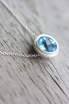 swiss blue topaz slider pendant. gorgeous!