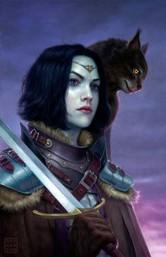 Interesting female warrior bwith black cat on her shoulder. Respectfully painted with realistic armor. Daniel Dos Santos