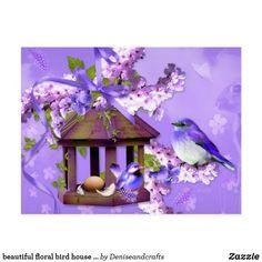 beautiful floral bird house postcard