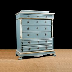 Antique Pine Danish Milk Cupboard in Old Paint, c. 1835 Antique Pine Furniture, Painting Antique Furniture, Antique Paint, Painted Furniture, Blue Chests, Antique Chest, Chest Of Drawers, Cupboard, Dresser