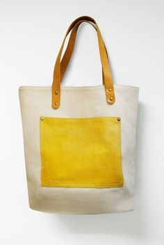 Leathinity  Beige Canvas Tote Bag w/ Genuine Leather by Leathinity, $64.99