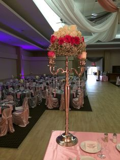 Baby's breath, pink rose, white hydrangea accent piece by Royal room weddings