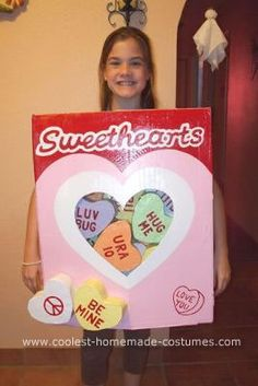 Homemade Sweethearts Candy Costume: This Sweethearts candy costume is easy to make and requires few materials.  You will need: A long, but skinny rectangle box (but big enough to fit on the
