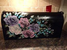 Rose mailbox hand painted mailbox pink rose mailbox purple
