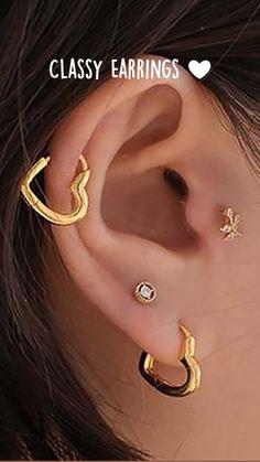 Ear Jewelry, Cute Jewelry, Body Jewelry, Jewlery, Different Ear Piercings, Pretty Ear Piercings, Oroboros Tattoo, Statement Earrings, Gold Earrings