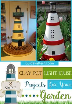 8 Simple Clay Pot Lighthouse Projects for Your Garden – Guide Patterns Clay Pot Lighthouse, Clay Flower Pots, Painted Clay Pots, Bright Paintings, Garden Junk, Clay Pot Crafts, Outdoor Crafts, Garden Guide, Terracotta Pots