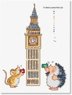 Mary Black hedgehog goes to London cross stitch patterns for sale (some cute chicken ones too!)
