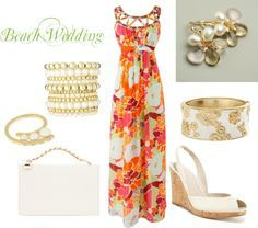 Beach Wedding Guest, created by roxannepatton on Polyvore