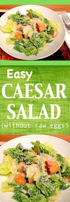 Easy Caesar Salad.  This is one of my favourite salads, it's so creamy with crunchy croutons.   The original Caesar Salad is prepared in restaurants with raw eggs as they make the mayonnaise dressing from scratch and on order, but in this recipe, I am not using raw eggs but store bought mayonnaise, also garlic, mustard, and anchovies, don't worry you won't taste the anchovies.   You can also add grilled chicken breast and serve it as a main course or entree.