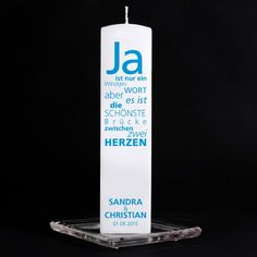 Hochzeitskerze - Textwolke 'Ja' (eckig)