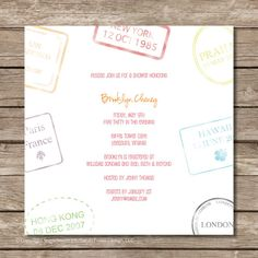 passport stamp bridal shower invitation - stamp dates and locations can be customized