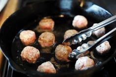 oats + ground beef or turkey meatballs