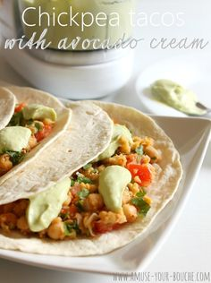 Chickpea tacos with avocado cream (made with Greek yogurt of course)