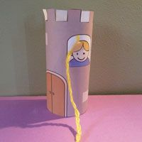 Rapunzel kids crafting with toilet roll