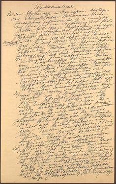 A page from the notes and manuscripts of Sigmund Freud, whose ideas became the foundation of psychoanalysis for the next century. / It's a damn nice hand. Writers Notebook, Writers Write, Old Paper, Pen And Paper, Buddha Thoughts, Handwriting Samples, Men Of Letters, Sigmund Freud, Le Web
