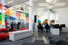 I LOVE the soundproof middle! {r} | 2014 Library Interior Design Award - Library Interior Design Awards | Project Title: NYPL Hamilton Grange Teen Center | Project Location: New York | Firm: Rice+Lipka Architects, New York | Category: Single Space Project | Award: Best of Category