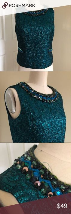 Anna Sui Holiday Brocade Top Deep teal metallic, close up picture is of a pull in the fabric. Hand crafted embroidery detailing. Zip closure. Anna Sui Tops Blouses