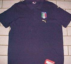 Italia FIGC Fedarazione Italiana Giuoco Calcio Puma Navy Blue Polo Shirt XL New #Puma #ShirtsTops