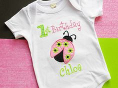 Personalized Lady Bug Birthday Applique Boutique Shirt, Onesie, or Tank Top