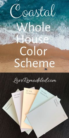 Top Beach House Paint Colors from Sherwin Williams Find out what the top coastal themed paint colors are for your home, as selected by the experts at Sherwin Williams. These colors will turn your home into a serene retreat. Beach House Colors, Coastal Paint Colors, Exterior Paint Colors, Paint Colors For Home, Paint Colours, Beach Bedroom Colors, Cottage Paint Colors, Beachy Colors, Wall Colors