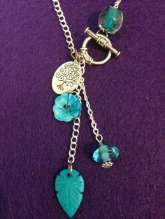 Turquoise Glass Bead and Silver Boho Necklace by CraftyOlBats