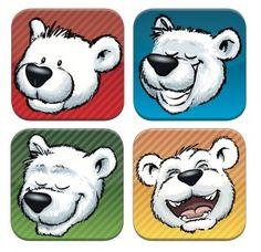 App Bierdeckel / Untersetzer mit coolen Arktisbär Emotions ;-)