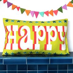 happy cushion cover by cecilymae handmade | notonthehighstreet.com