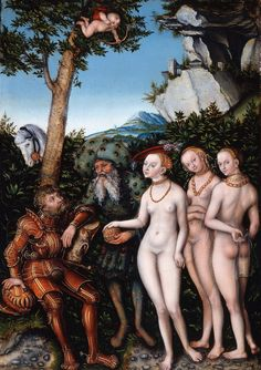 The Judgement of Paris 1530 Lucas Cranach the Elder St. Louis Art Museum FR No. Hans Holbein, Aphrodite, Martin Luther, Hans Baldung Grien, Judgement Of Paris, Lucas Cranach, Trojan War, Digital Archives, Renaissance