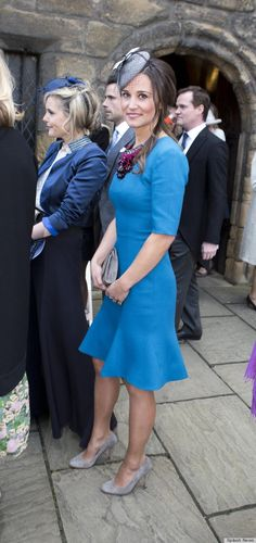 Pippa Middleton at the wedding of Michael Marsham and Lucy Beaumont, son of the Earl and Countess of Romney and daughter of Viscount and Viscountess Allendale, respectively.