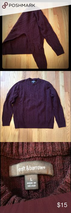 Maroon crew neck cable knit sweater! Size L. Dark maroon heather crew neck sweater in cable knit throughout (front, back, and sleeves). Size L. Cotton & acrylic blend. Really EUC. croft & barrow Sweaters Crewneck