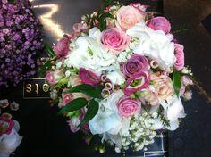 Rose hydrangea & lisianthus bridal bouquet