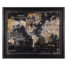 A grandiose framed print for the well traveled. Golden World Map by Zoey Riley, $599.95 #ZGallerie
