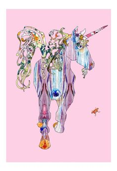 Unicorn Pink Print This piece has many layers of beautiful pattern!  13 x 19 Artwork is signed and printed on high quality paper with rich