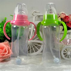 Updated Durable Baby Kids Straw Cup Drinking Bottle Sippy Cups With Handles Cute Design Feeding Bottle PP Plastic P25