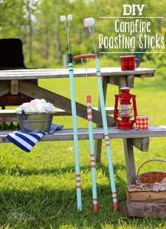 Easy to make DIY Marshmallow roasting sticks from old rake and mop handles and a dollar store metal skewer