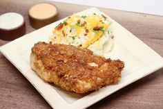 The key to this low carb crispy fried chicken is to crush the pork rind coating by hand, giving it a more panko like texture.