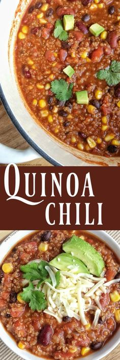 A hearty, delicious, and healthy chili loaded with quinoa, beans, tomatoes, and spices. This quinoa chili is healthy comfort food.