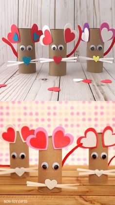 A fun paper roll heart mouse craft. It uses recycled items, googly eyes and heart stickers. Simple craft for kids as young as toddlers. day ideas Paper Roll Heart Mouse Craft for Kids Mouse Crafts, Valentine's Day Crafts For Kids, Daycare Crafts, Preschool Crafts, Fun Crafts, Creative Crafts, Nature Crafts, Stick Crafts, Kids Diy