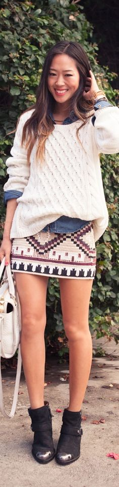 Love the Aztec pattern of the skirt.