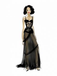 An illustration FKA Twigs's VMA look by Emily Brickel