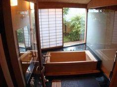 Japanese bathroom - ofuro I fondly remember my grandparents wooden bathtub and those wonderful Japanese baths - boiling hot water! Japanese Style Bathroom, Japanese Bathtub, Japanese Soaking Tubs, Japanese Shower, Wood Tub, Wooden Bathtub, Wooden Bathroom, Concrete Bathroom, Asian Bathroom