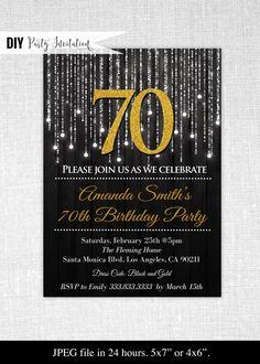 Black and Gold Invitation Template Fresh Black and Gold Birthday Invitations Birthday Glitter Birthday Parties, 70th Birthday Parties, Gold Birthday, Birthday Ideas, Birthday Celebration, 50th Anniversary Invitations, 70th Birthday Invitations, Wedding Anniversary, Wedding Invitations